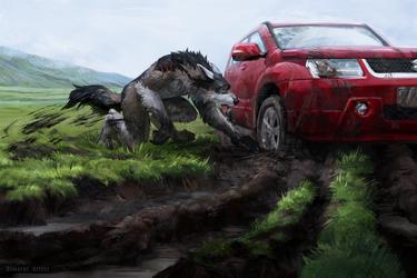 Mud Bogging Werewolf by Simargl