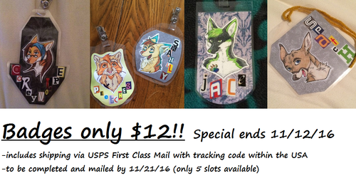Badge special thru 11/12/16