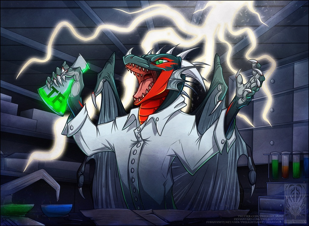 Mad Scientist Dragon by Twilightsaint