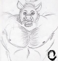 Sketch: Boar Smoking