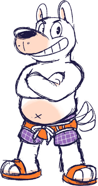 Chubby dog man, but in a speedo this time