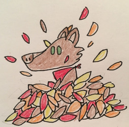 A pile of leaves and one dog