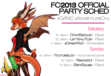 FC 2013 Official Party Sched #GANC #AdventureCru