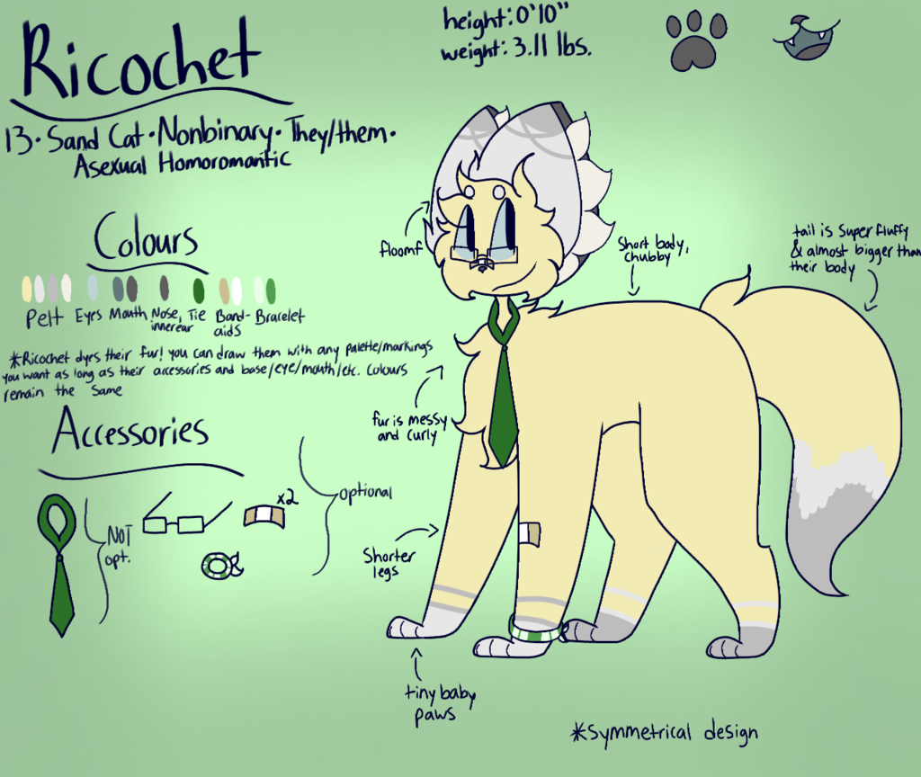 Most recent image: Ricochet Reference Sheet (2018)
