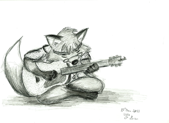 Psychedelic Fox and Guitar
