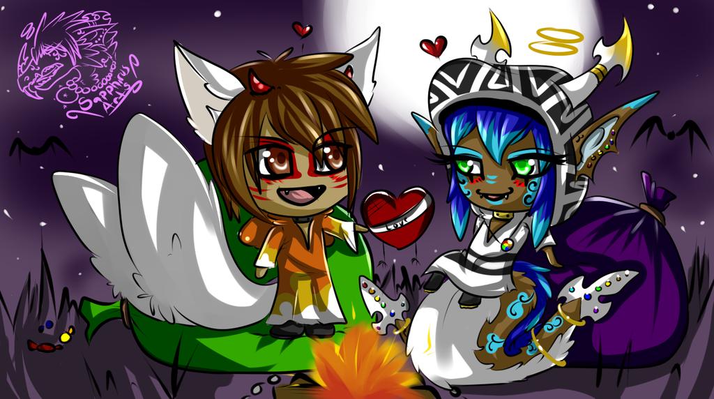 Halloween Couple +Sapphirus and Cheborca Chibis+
