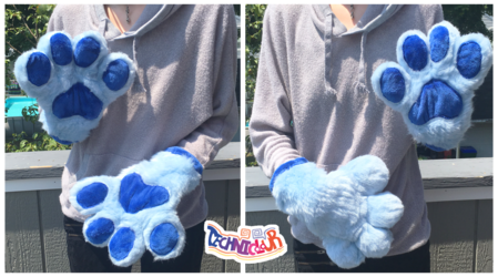(FOR SALE) Blue Fursuit Handpaws With Blue Pawpads