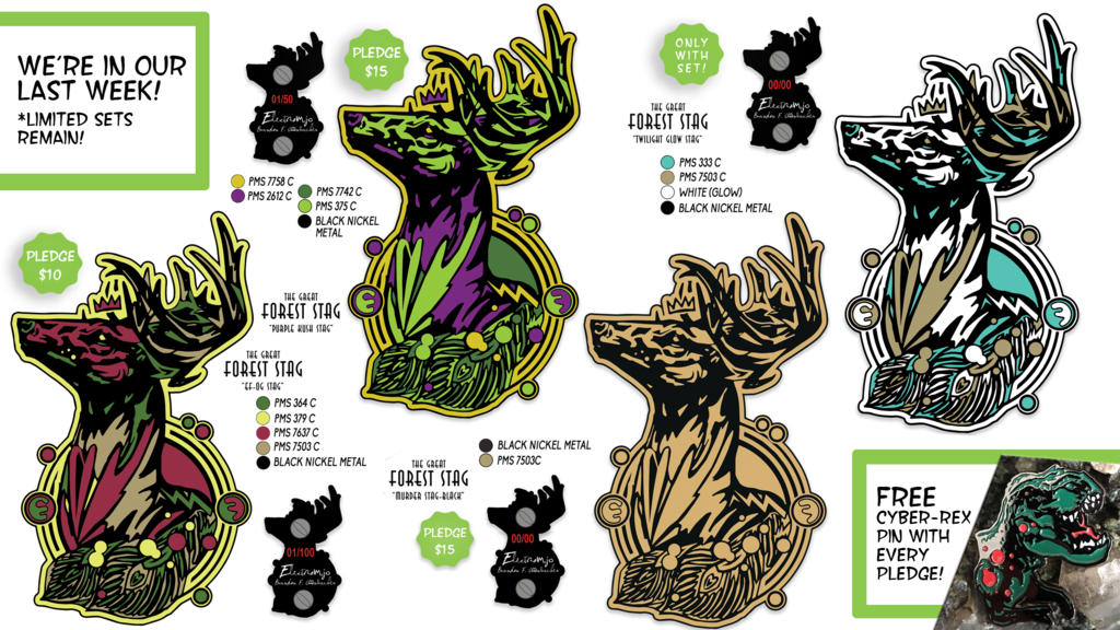 Most recent image: Great Forest Stag Pins