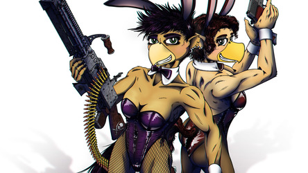 Pennrose and Charlotte - Dirty Pair Easter Close-up