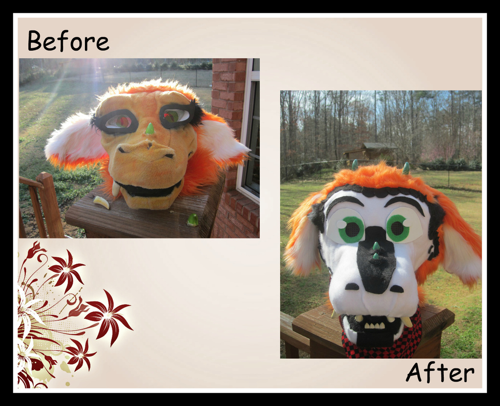Refurbished Dragon Head -before and after-