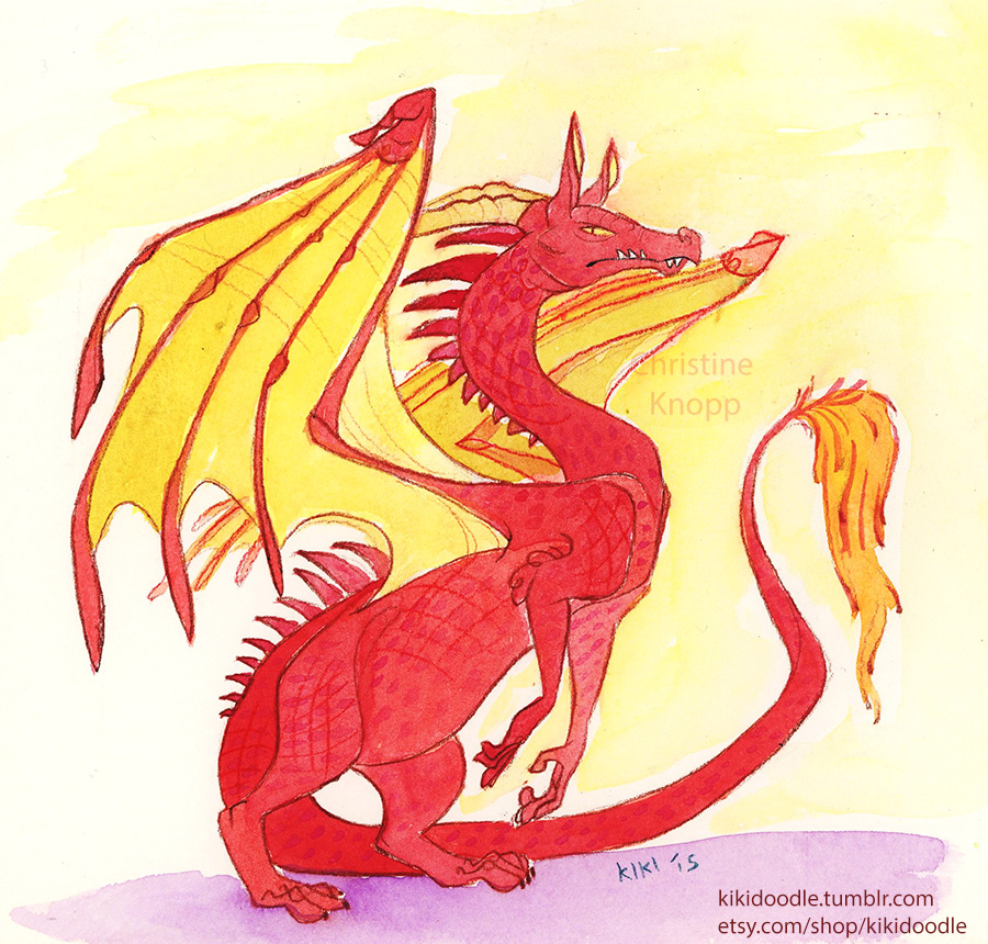Red Dragon Watercolor