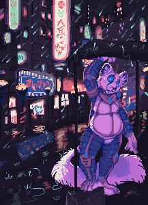 COMMISSION: Blizzarderful - Cyberpunk Rainstorm