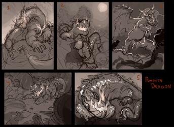 Pumpkin Dragon WIP/ Thumbnails