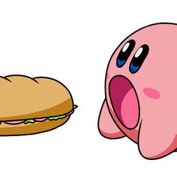 Kirby eating a big sandwich