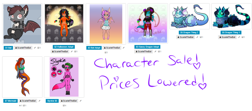 Most recent image: Character Sale!