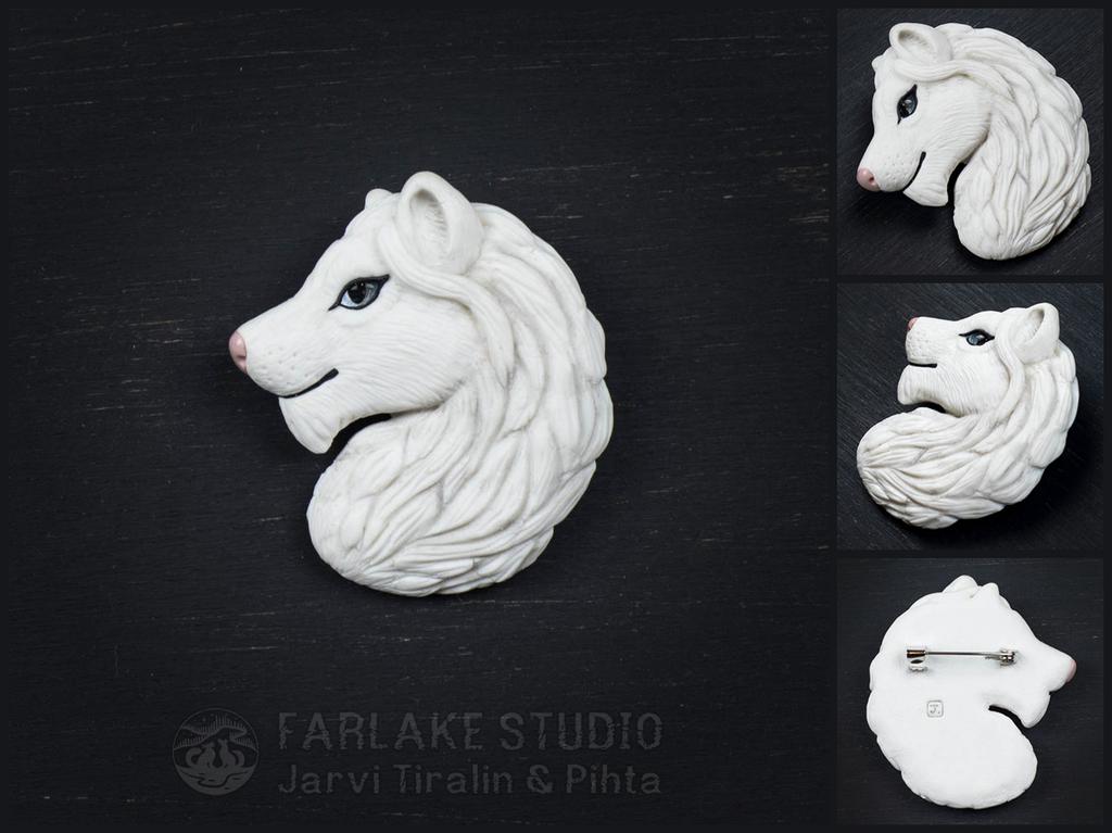 White lion portrait brooch - for sale