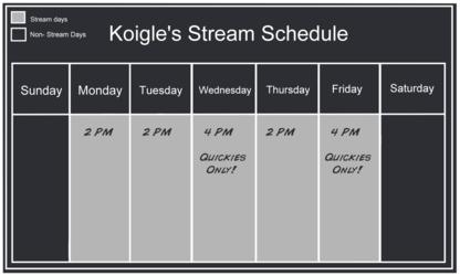 This Week's Stream Schedule