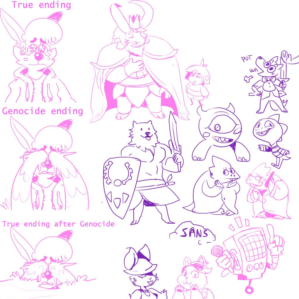 SPOILERS - Assorted Undertale doodles