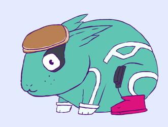 midoriya with a pancake on his head