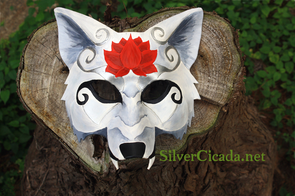 Leather white wolf mask with red lotus