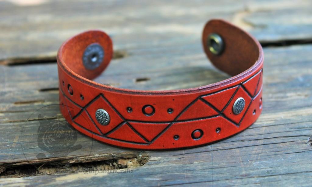 Orange Geometric Engraved Bracelet