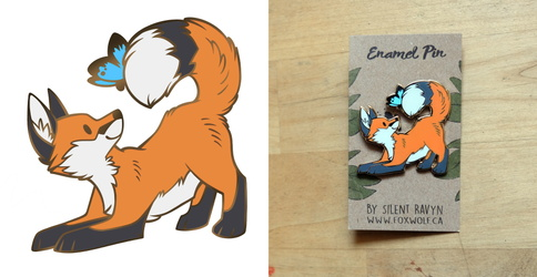 Fox and Butterfly Enamel Pin