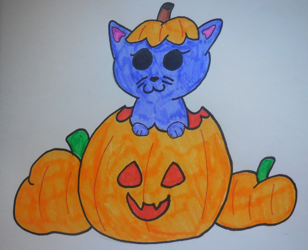 Inktober Day 2 Kitten Pumpkin