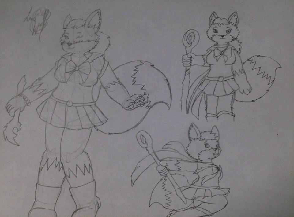 Sketch - Witch vixen in miniskirt