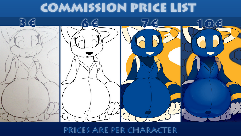 Most recent image: Commission price list