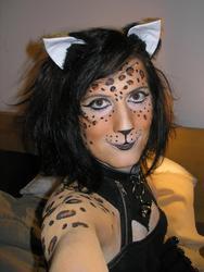 Leopard bodypaint face detail, Halloween 2008