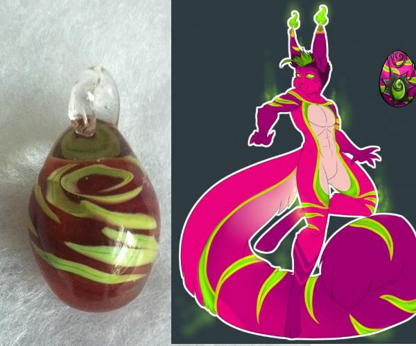 DragonTeufel's handmade glass egg pendant