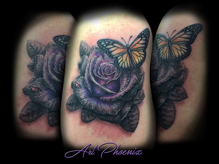 Grayscale to Color Shifting Rose and Butterfly Arm Tattoo