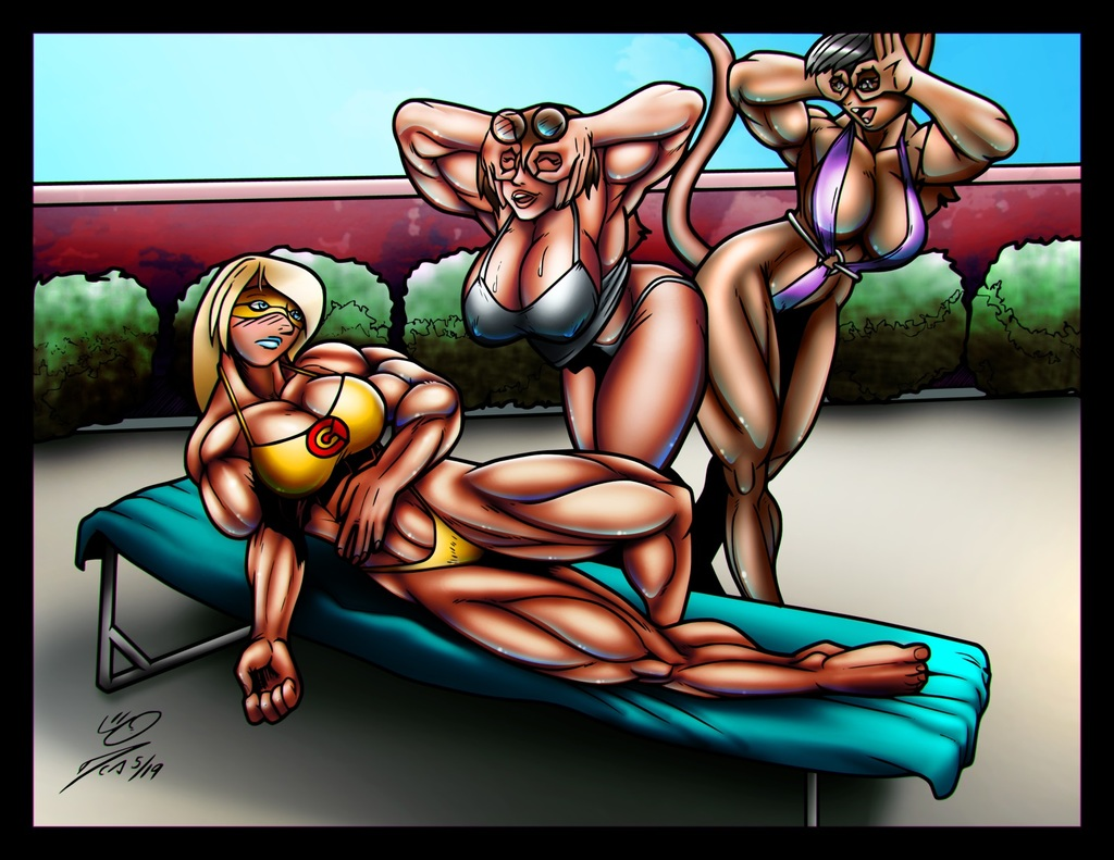 Comet Girl, Heather and Candi at the Pool, Color