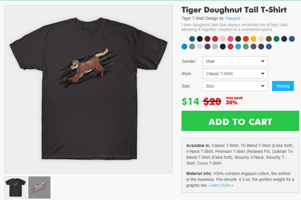 Teepublic sale: tiger doughnut tail