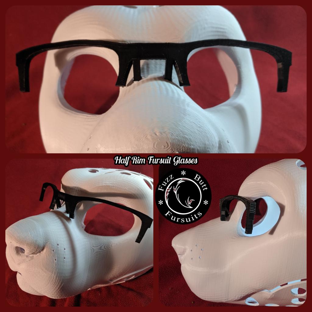 Half Rim Rectangular Fursuit Glasses