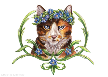 Floral Feline (Original for sale, free shipping)
