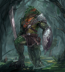 Crocodilian warrior for upcoming TCG