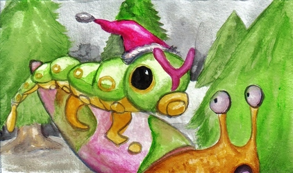 Christmas Present!--A Yogurt Snail and a Caterpie in a Tree~