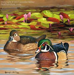 Wood Ducks and Lilies, Study
