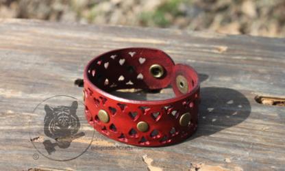 Antiqued, Studded, Red Filigree Bracelet
