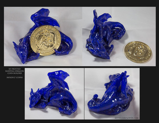 Collectors 3D Sleeping Dragon Printed Coin Holder