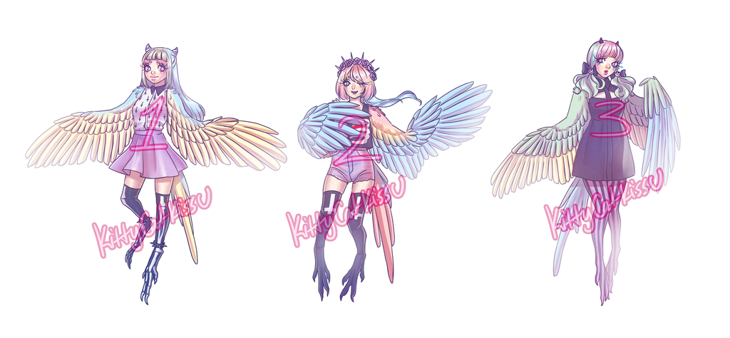 Most recent image: Pastel Goth Macaw Harpy Adoptables Auction