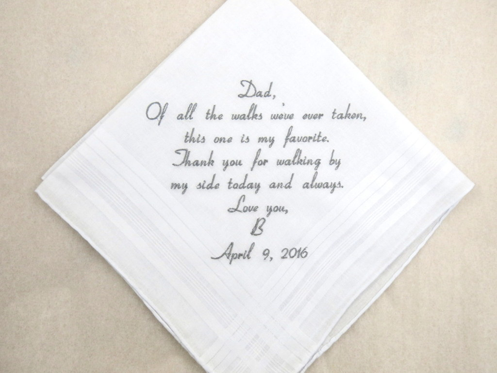 Father of the bride Gift Embroidered Personalized Wedding Handkerchief Gift