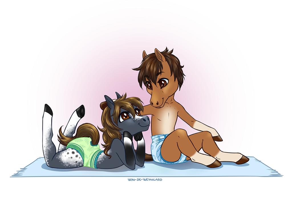 Chibi Horses!! - Commission [Diaper Version]