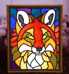 Red Fox Faux Stained Glass (Outdoor)