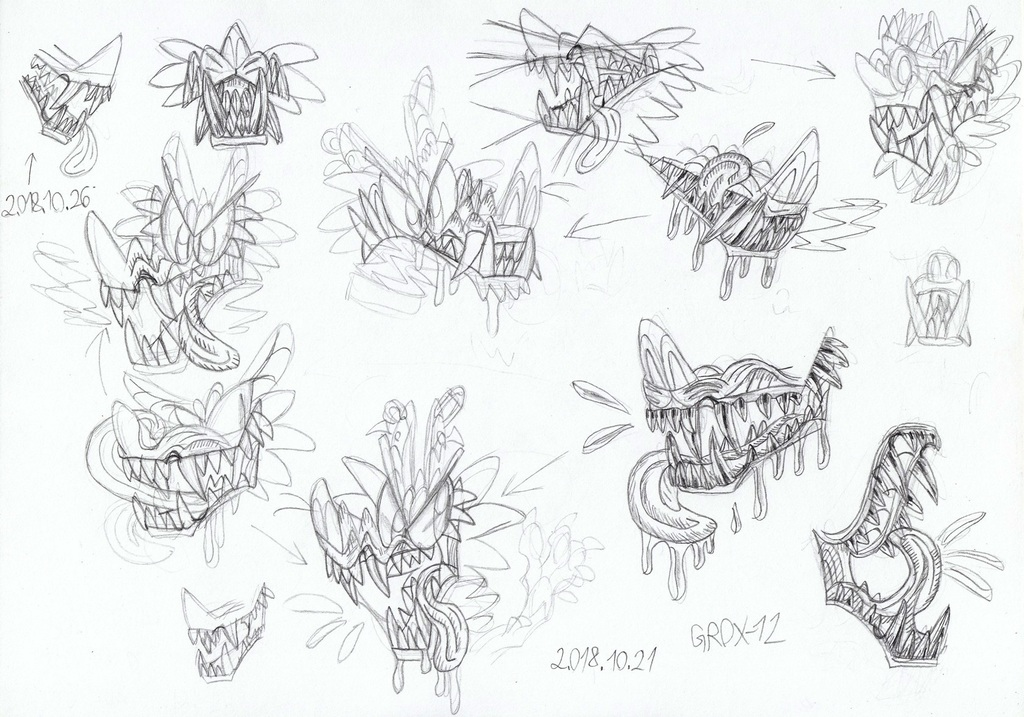 Dog mouth and teeth-sketches