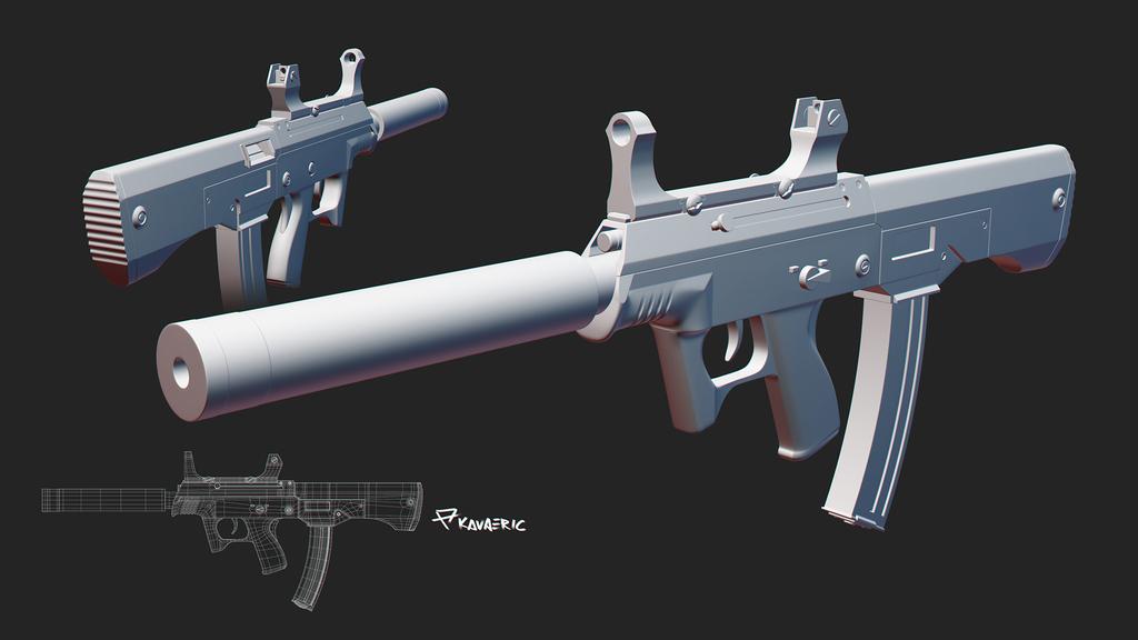 JS 9mm submachine gun study