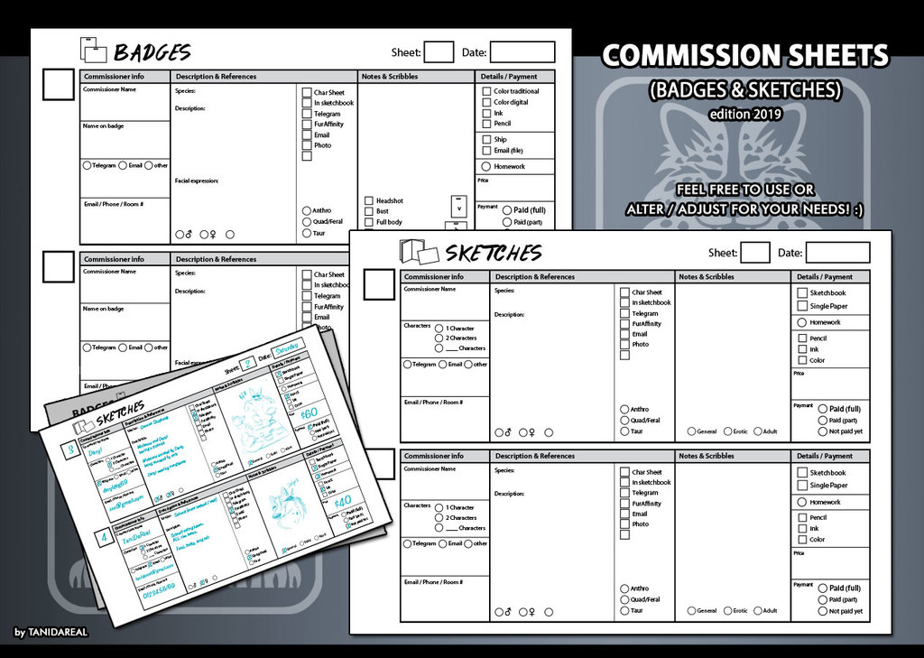 Commission info sheets (update 2019)