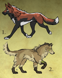 Two canine designs for sale.
