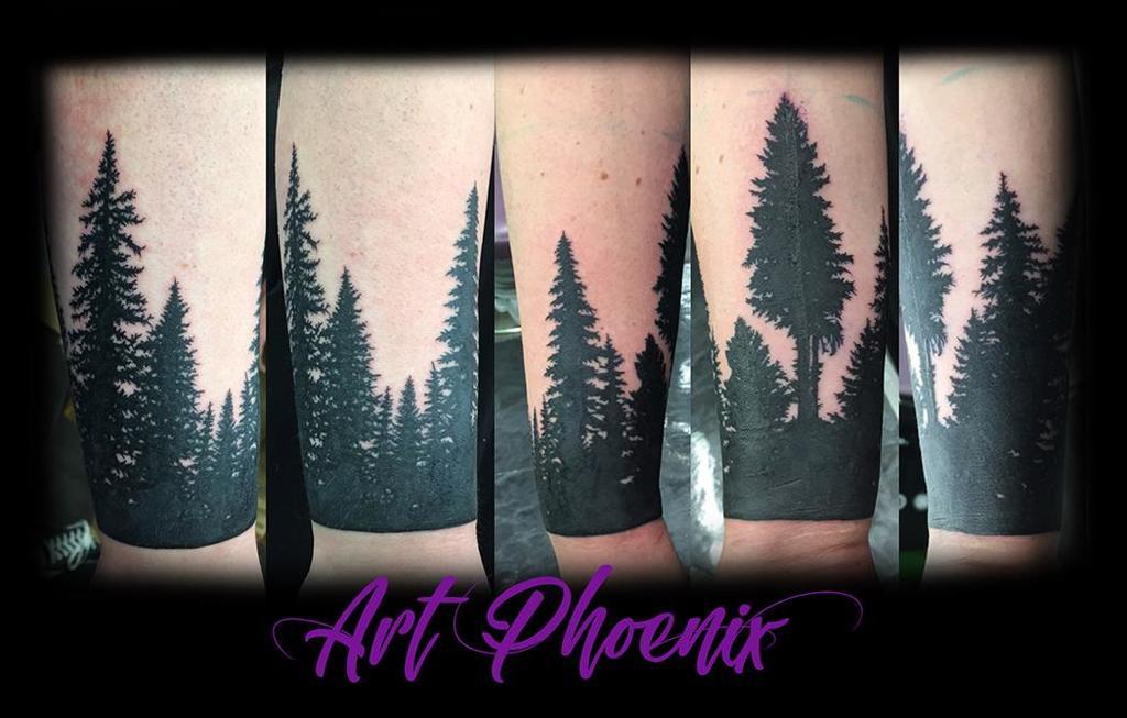 Evergreen Silhouette Blackout Cuff Tattoo